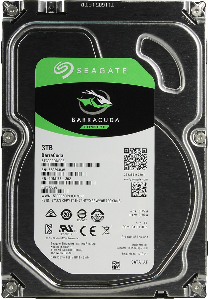 Жёсткий диск HDD 3TB Seagate Barracuda ST3000DM008